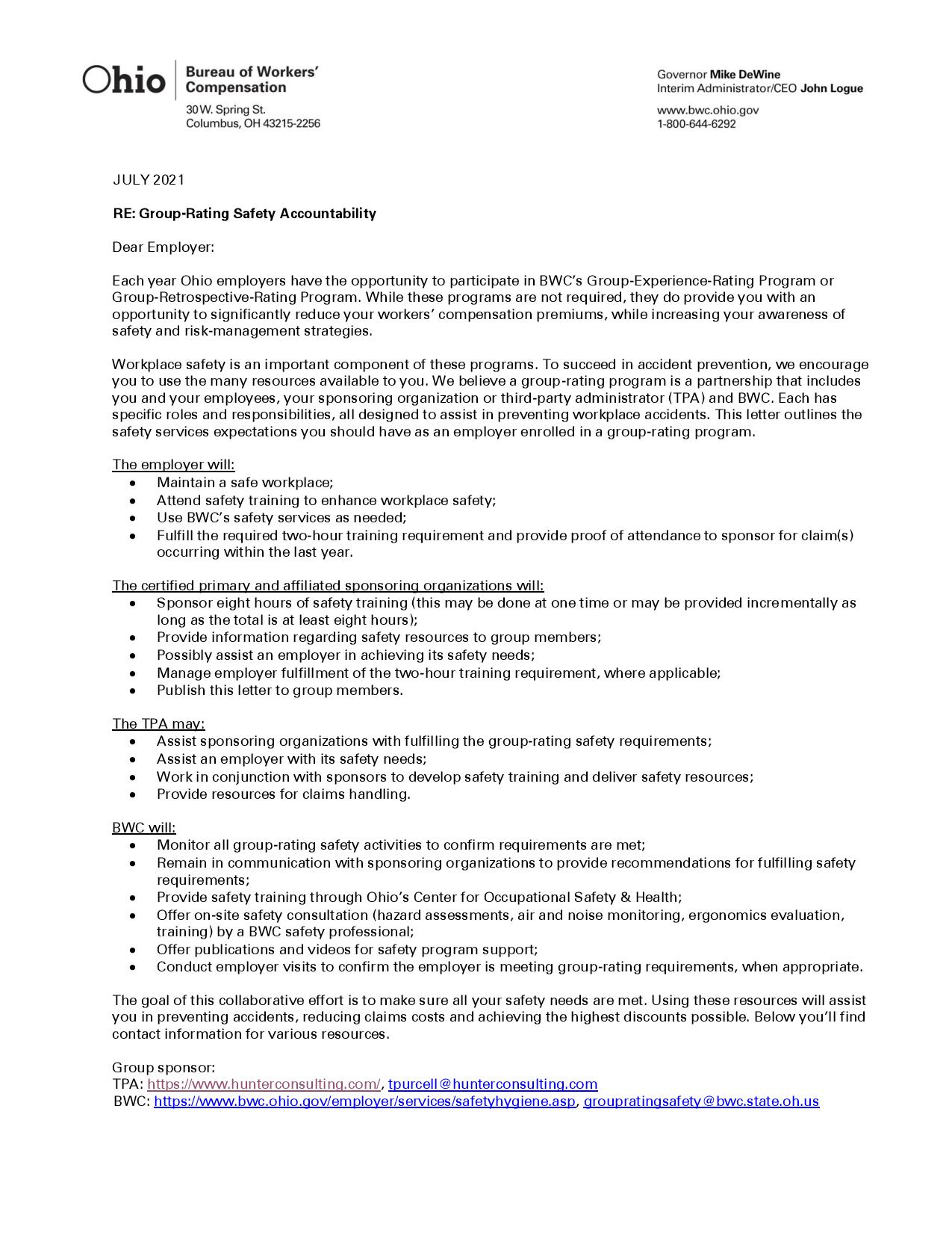 CY21 Group Rating Safety Accountability Letter